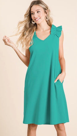 Buy V-Neck Crepe Dress w/Pockets Jade online at Southern Fashion Boutique Bliss