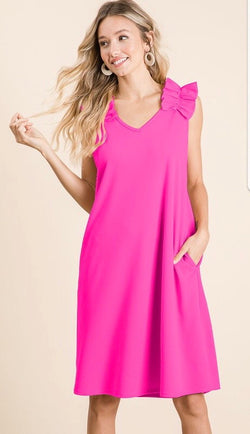 Buy V-Neck Crepe Dress w/Pockets Fuchsia online at Southern Fashion Boutique Bliss