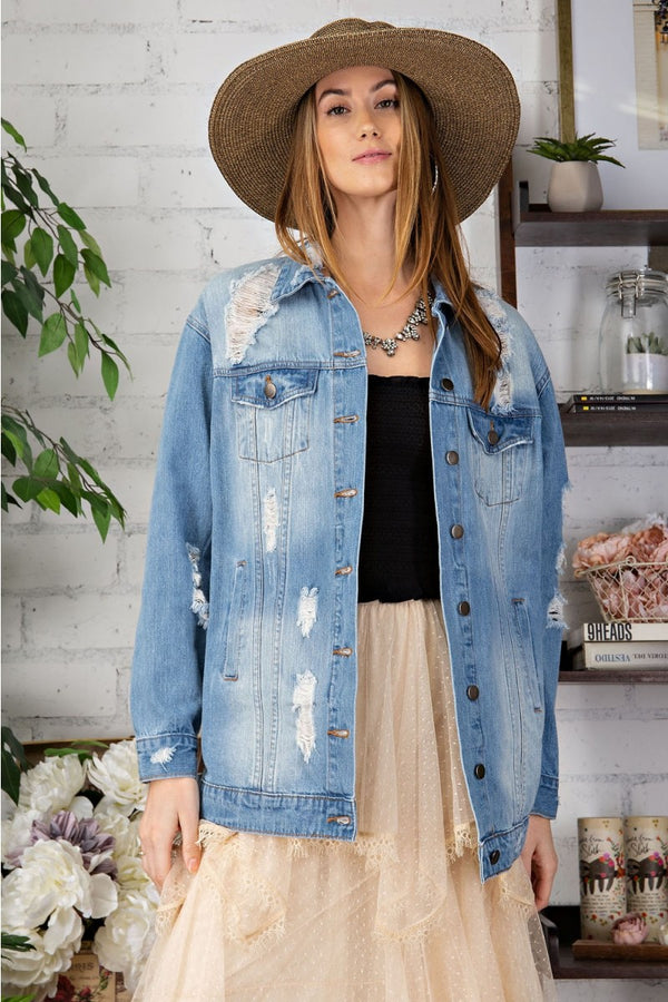 Distressed Oversized Boxy Jacket Washed Denim