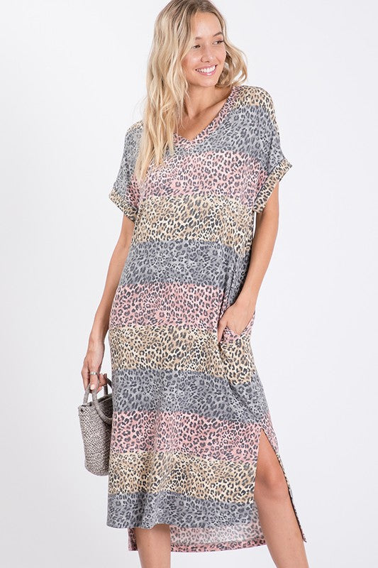 Buy Brushed Knit Animal Print Dress Pink online at Southern Fashion Boutique Bliss