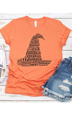 Buy Word Art Witch Hat Graphic Tee Orange online at Southern Fashion Boutique Bliss
