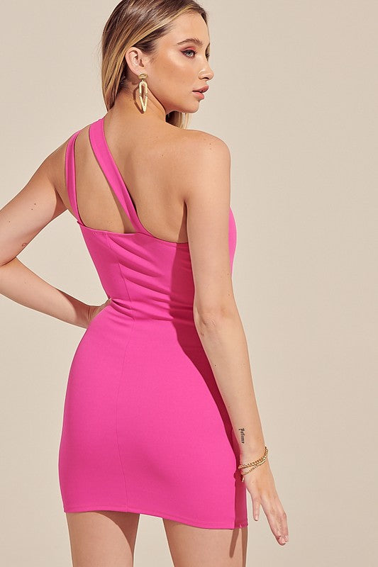 One Shoulder Twisted Bodycon Dress Hot Pink