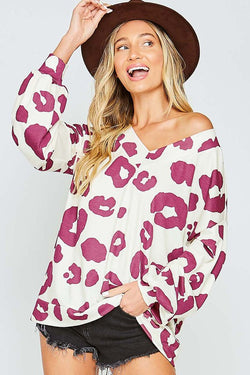 Long Sleeve V-Neck Animal Print Top Magenta