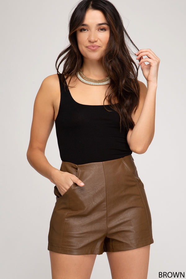 Faux Leather Shorts with Pockets Brown