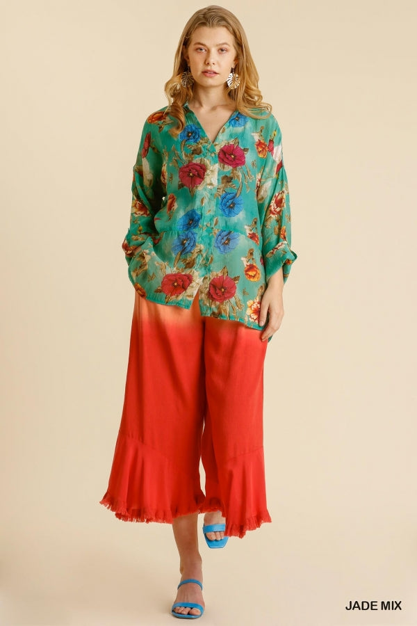 Buy Sheer Floral Print Button Up Shirt Jade online at Southern Fashion Boutique Bliss