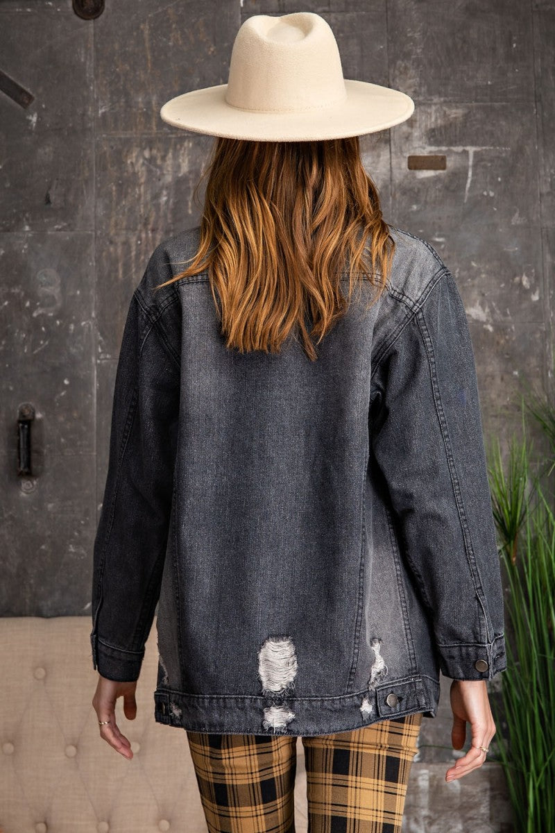 Distressed Oversized Boxy Jacket Black Denim
