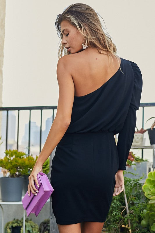 Puff Sleeve Back Zipper Solid Dress Black