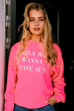 Buy Girls Just Wanna Have Sun Graphic Sweatshirt Pink online at Southern Fashion Boutique Bliss