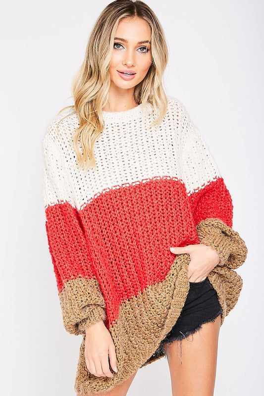 Color Blocked Sweater Cream/Red/Mocha