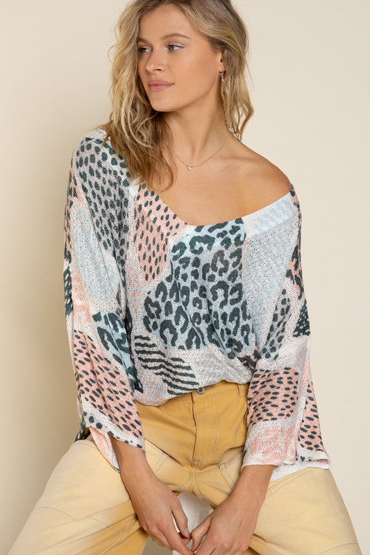 Multi Leopard Thin Sweater Ivory/Leopard