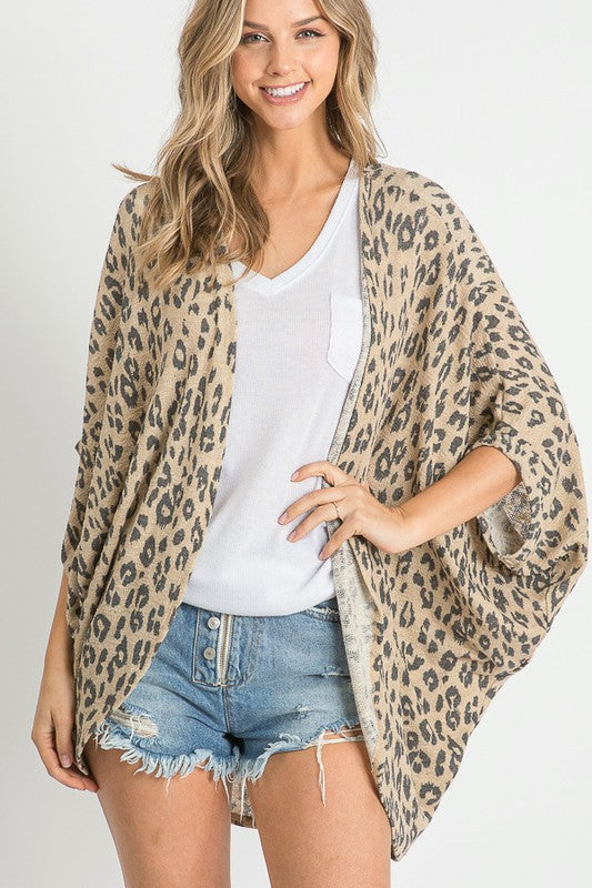 Leopard Print Open Front Cardigan Taupe