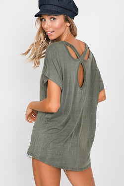 Buy Washed Cross Open Back Detail Top Oilve online at Southern Fashion Boutique Bliss