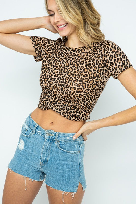 Buy Animal Print V-Neck Knit Cross Twist Front Crop Top Black online at Southern Fashion Boutique Bliss