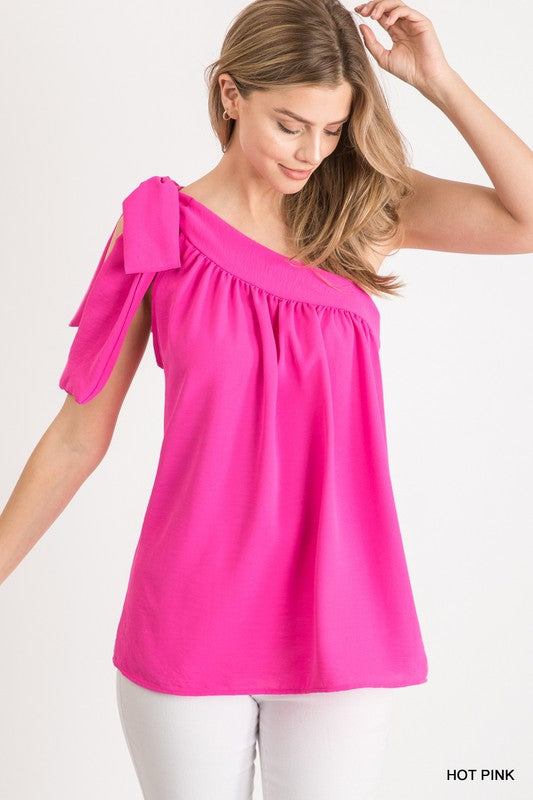 Buy Solid Self-Tie One Shoulder Top Pink online at Southern Fashion Boutique Bliss