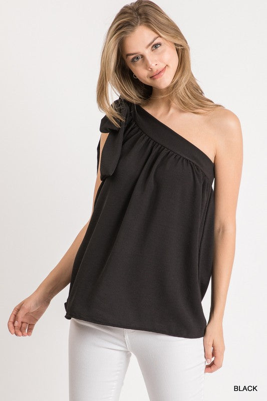 Solid Self-Tie One Shoulder Top Black