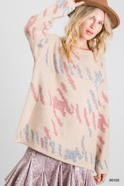 Print Knit Pullover Sweater Beige