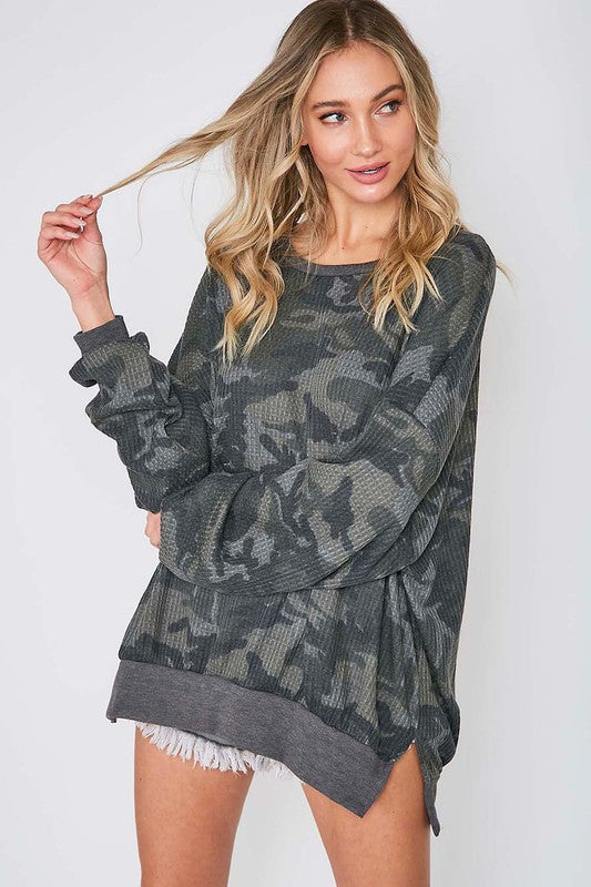 Buy Long Sleeve Thermal Camo Top Olive online at Southern Fashion Boutique Bliss