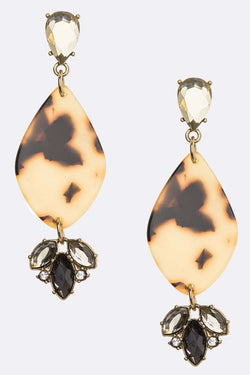 Buy Celluloid Mix Crystal Earrings Brown online at Southern Fashion Boutique Bliss