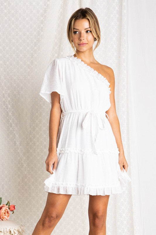 One Shoulder Ruffled Detail Dress White