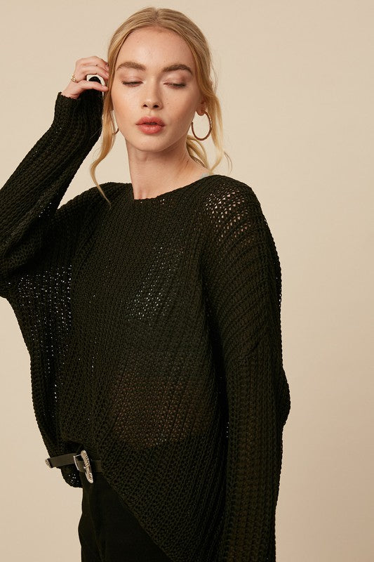 Buy Net Crochet Pattern Knit Sweater Black online at Southern Fashion Boutique Bliss