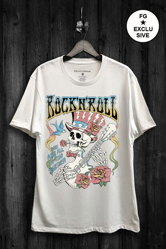 Buy Rock and Roll Skull Graphic Top White online at Southern Fashion Boutique Bliss