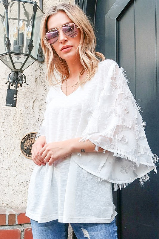 Buy Feather Detail 3/4 Sleeve Slub Top Off White online at Southern Fashion Boutique Bliss