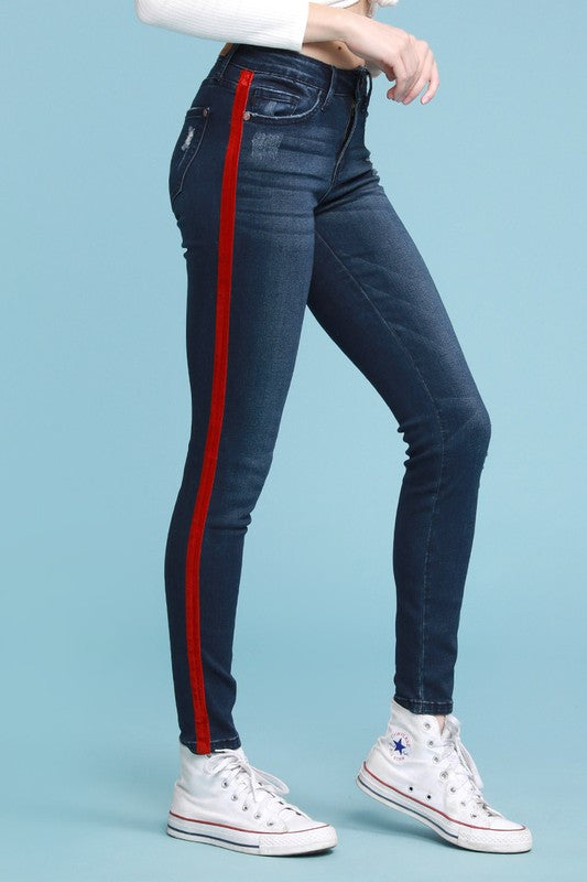 Red Velvet Tape Skinny Jeans Denim