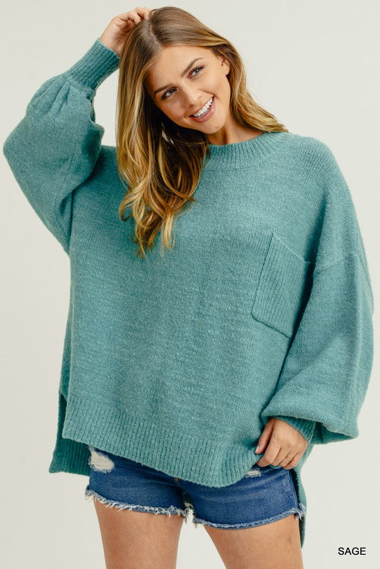 Bubble Sleeve Pocket Sweater Hot Sage