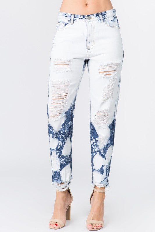 Buy High Waist Bleached Denim Jeans Ice Blue online at Southern Fashion Boutique Bliss