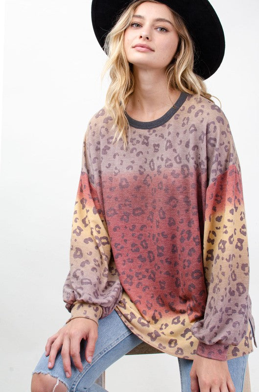 Tie Dye Animal Print Tunic Yellow/Brick