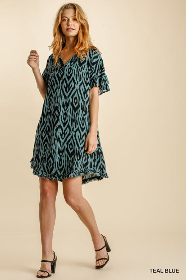Ruffled Sleeve Collared Button Down Dress Teal