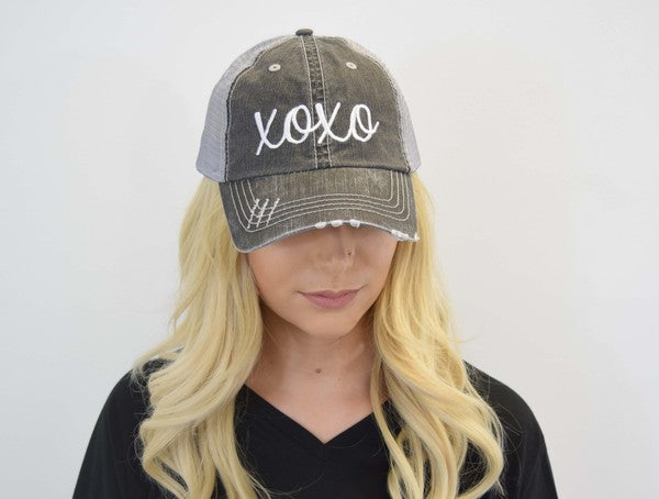 Buy XOXO Embroidered Mesh Back Trucker Hat Grey online at Southern Fashion Boutique Bliss