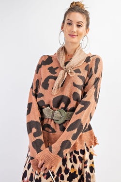 Buy Leopard Distressed Sweater Knit Top Coral online at Southern Fashion Boutique Bliss
