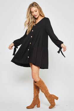 Solid Button Up Dress Black
