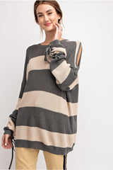 Buy Stripe Printed Cold Shoulder Sweater Tunic Grey online at Southern Fashion Boutique Bliss