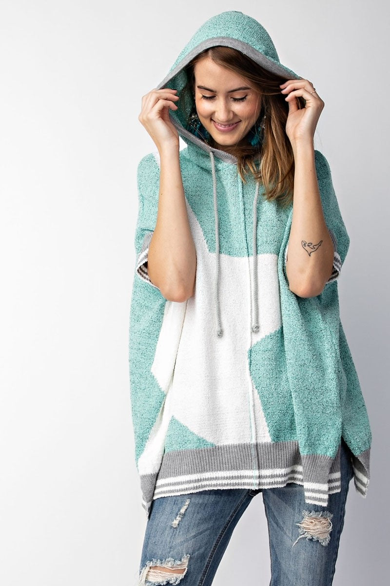 Buy Star Print Oversized Sweater Knit Hoodie Top Blue Spa online at Southern Fashion Boutique Bliss