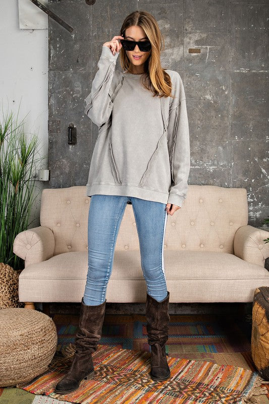Buy Fray Detailed Top Faded Sage online at Southern Fashion Boutique Bliss