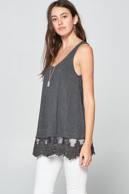 Buy Sleeveless Lace Tunic Tank Top Charcoal online at Southern Fashion Boutique Bliss