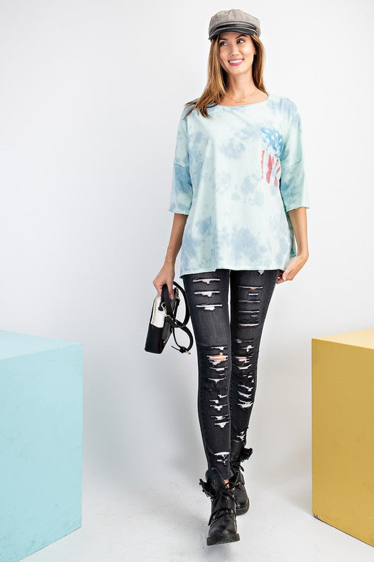 Buy Mineral Washed American Flag Print Top Blue online at Southern Fashion Boutique Bliss