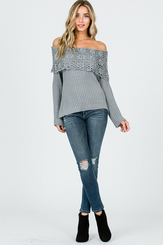 Boho Crochet Collar Off Shoulder Top Grey - Athens Georgia Women's Fashion Boutique