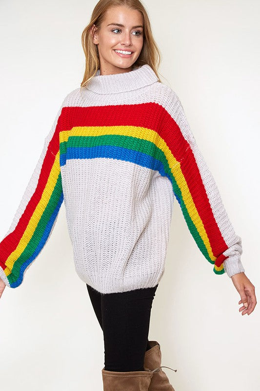 Rainbow Stripe Chunky Sweater Off White