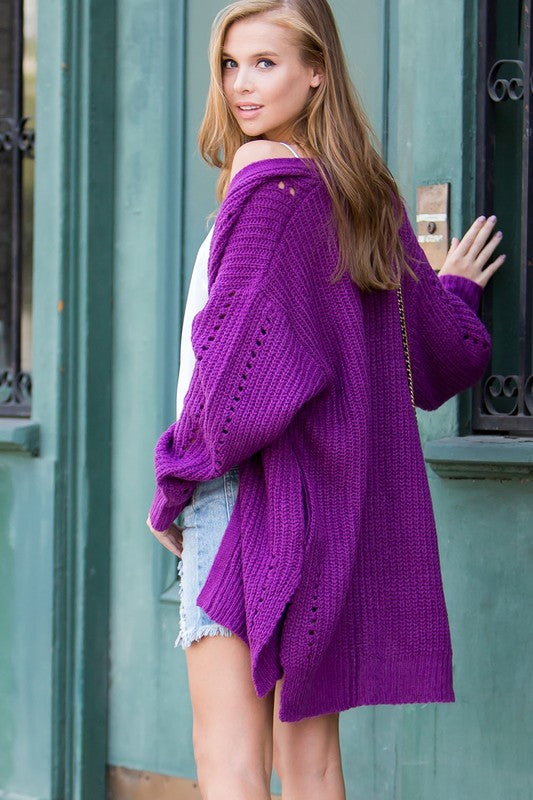 Pointelle Sweater Cardigan Orchid - Athens Georgia Women's Fashion Boutique