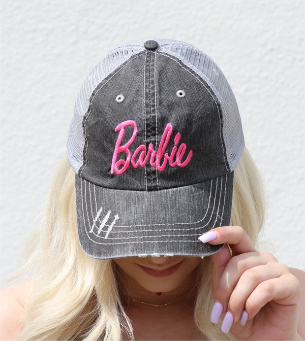 Buy Barbie Embroidered Mesh Back Trucker Hat Grey online at Southern Fashion Boutique Bliss