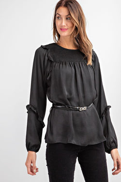 Long Sleeve Dull Satin Blouse Black