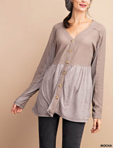 Buy Thermal Button Cardigan Top Mocha online at Southern Fashion Boutique Bliss