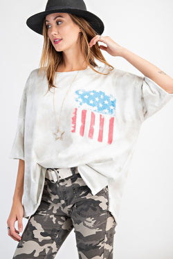 Mineral Washed American Flag Print Top Mushroom