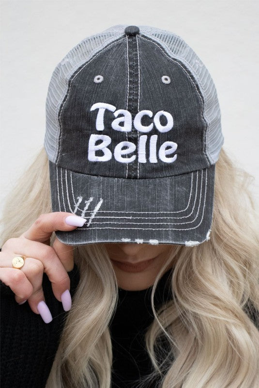 Buy Taco Belle Embroidered Mesh Back Trucker Hat Grey online at Southern Fashion Boutique Bliss