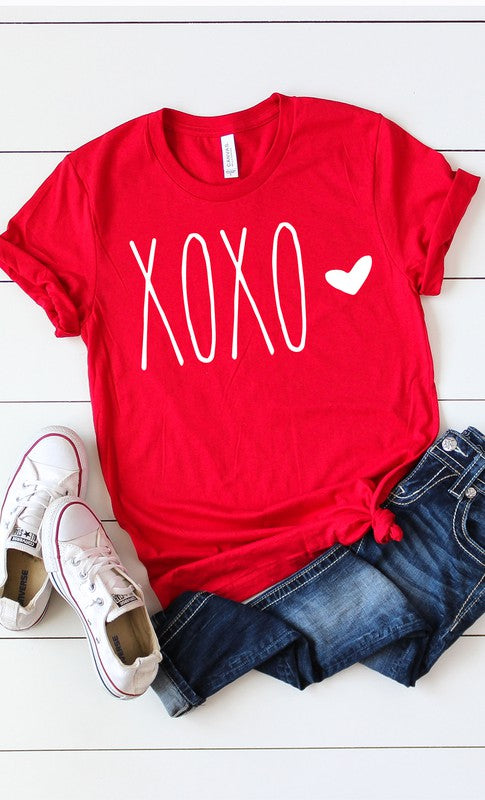 XOXO White Ink Heart Graphic Tee Red