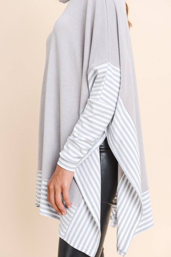 Buy Over Sized Cape Top Silver Grey online at Southern Fashion Boutique Bliss