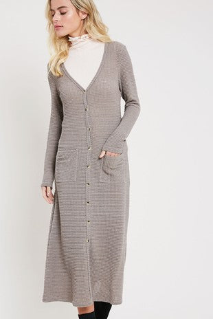 Buy Waffle Knit Long Sleeve Cardigan Charcoal online at Southern Fashion Boutique Bliss